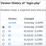 Dropbox Version Screen